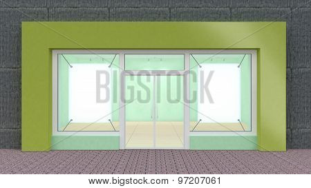 Empty Green Store Front With Big Windows Whith Border