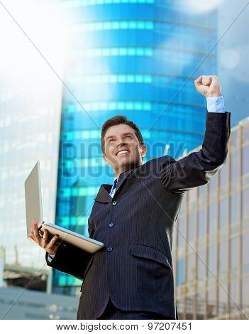 Successful Businessman With Computer Laptop Happy Doing Victory Celebrating Success