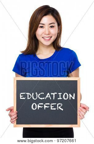 Asian woman hold with chalkboard and showing education offer