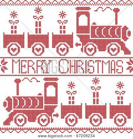 Merry Christmas Scandinavian seamless Nordic pattern with gravy train, Xmas gifts, heart stars, snow