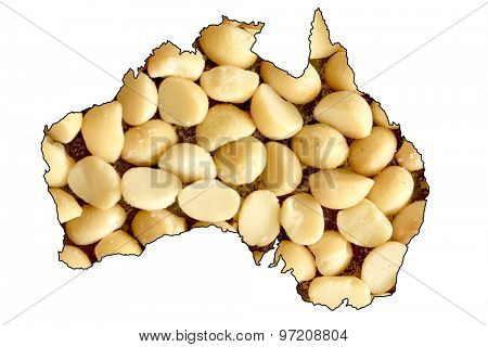 Map of Australia with Macadamia Nuts