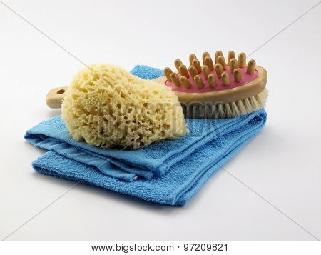 bathroom products,sponge,brush,comb and towel