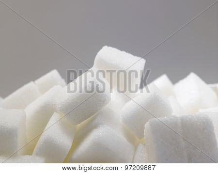 pile of delicious white lumps of cubes sugar