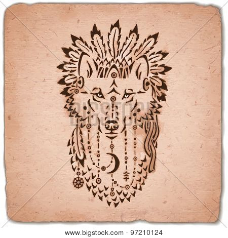Wolf in war bonnet, hand drawn animal illustration