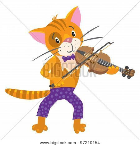 Funny cat plays the violin