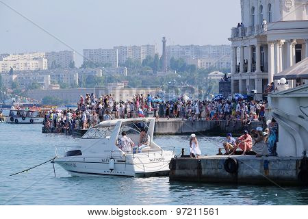 Sevastopol, Crimea, July, 26, 2015: citizens during celebration of Day of Fleet which is traditionally celebrated in Sevastopol at last Sunday of July
