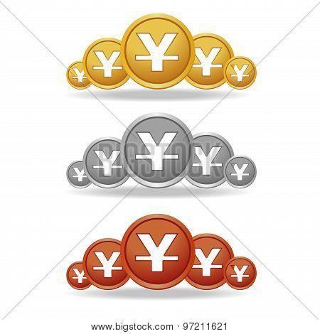 Yuan Gold coin silver and bronze coin vector design