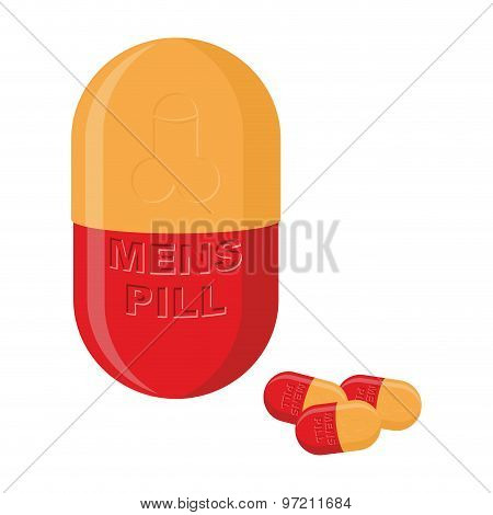 Mens Pills. Pills For Mens Health And Strength. Vector Illustration Of Medications.