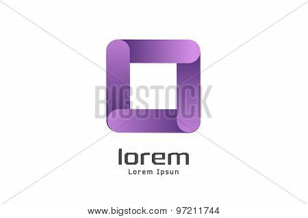 Vector square abstract logo template. Shape and symbol, icon, creative idea or flow, glossy box. Com