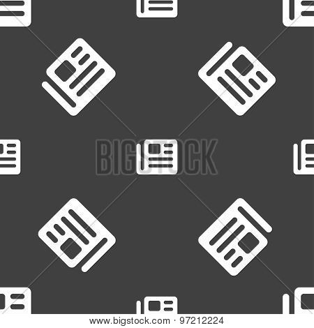 Book, Newspaper Icon Sign. Seamless Pattern On A Gray Background. Vector