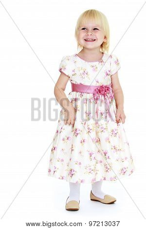 Comparative girl in a long dress