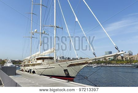 Sailing Yacht In Port Of Barcelona