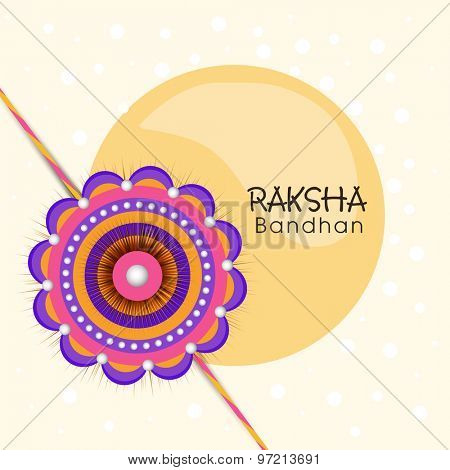 Colorful stylish rakhi design for Indian festival of brother and sister love, Raksha Bandhan celebration.