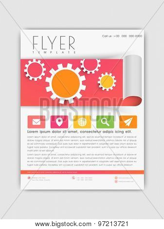 Creative business flyer, template or corporate brochure design with colorful web icons.