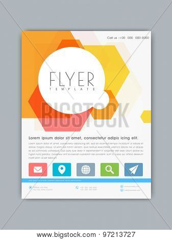 Stylish business flyer, template or banner with colorful abstract design for your company.