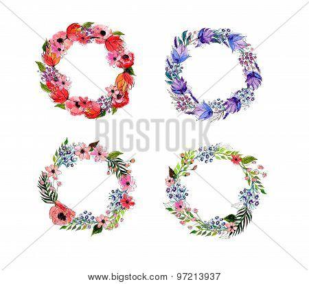 Watercolor flowers wreath set