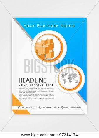 Creative business flyer, template or brochure design in blue and white color.