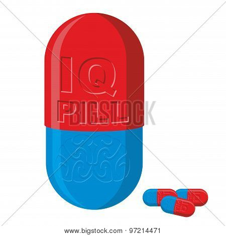 Tablet With Brains. Pill Iq. Medical Product Vector Illustration.