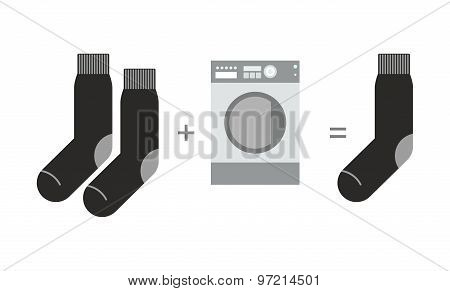Socks And A Washing Machine. Riddle Where You Lose One Sock After Washing. Vector Illustration