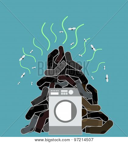Big Pile Of Dirty And Smelly Socks. Washing Machine Vector Illustration