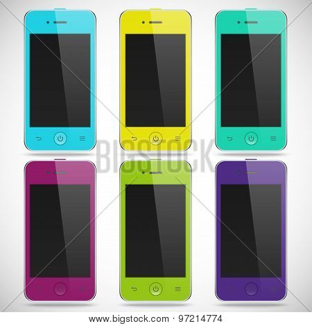set of realistic detailed colored smartphones with touch screen isolated on a gray background