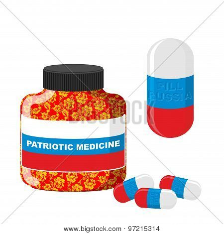 National Patriotic Medicine In Russia.  Pill With Russia. Vector Illustration. Bottle With Pills.