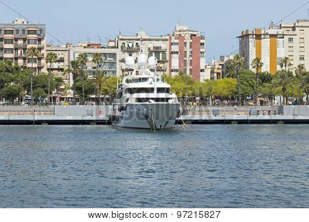 Contemporary Yacht In Port Of Barcelona