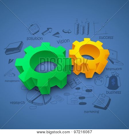 3D glossy setting symbol on various business infographic elements background for your print, presentation and publication.