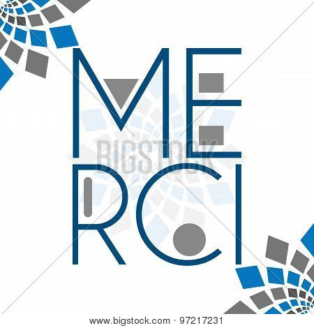 Merci Text Blue Grey Squares Element