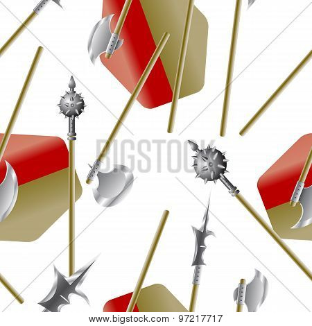 Weapon Collection, Medieval Weapons, Seamless Wallpaper, Vector