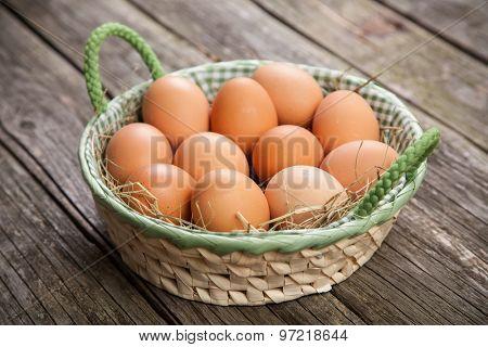 Fresh organic eggs in a basket