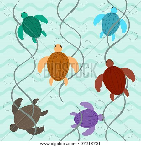 Charming Aquatic Turtles Floating Underwater Seamless Pattern