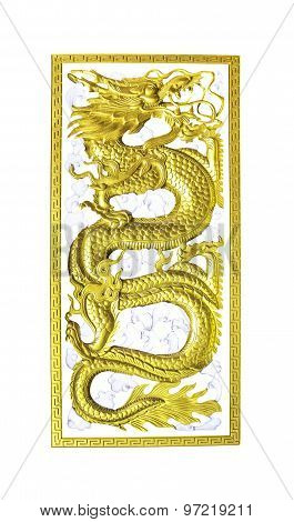 Golden Wooden Dragon Isolated
