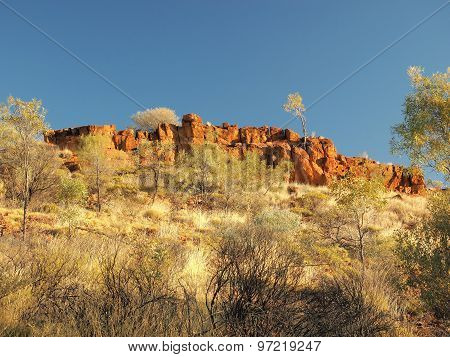 Glowing outback rock formation of the MacDonnell ranges