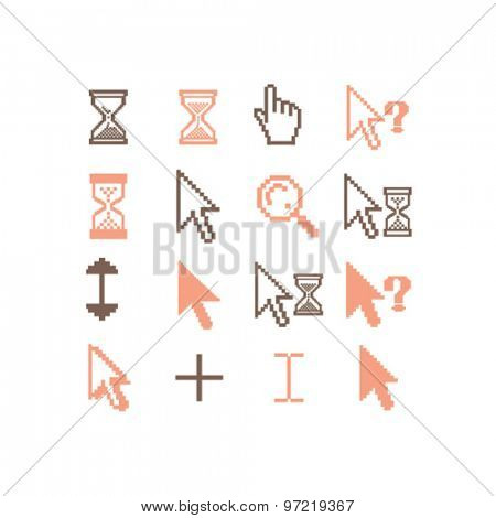 cursors isolated flat icons, signs, illustrations set, vector for web, application