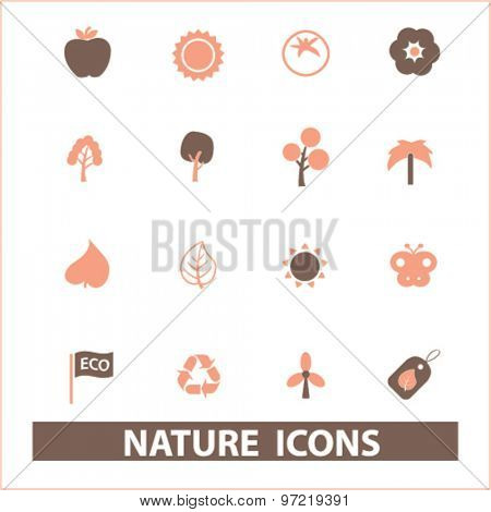 nature, ecology, environment isolated flat icons, signs, illustrations set, vector for web, application