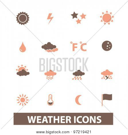 weather, climate isolated flat icons, signs, illustrations set, vector for web, application
