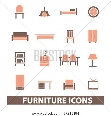 furniture, interior, room decor isolated flat icons, signs, illustrations set, vector for web, application