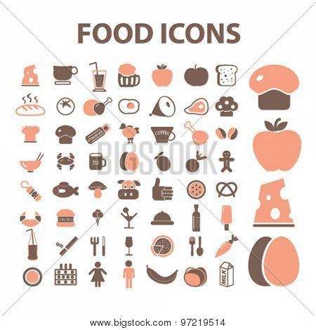 food, restaurant, meat, cafe isolated flat icons, signs, illustrations set, vector for web, application