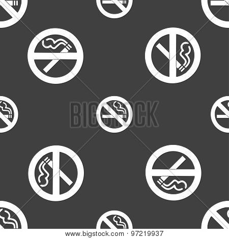 No Smoking Icon Sign. Seamless Pattern On A Gray Background. Vector