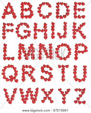 alphabet made with hearts