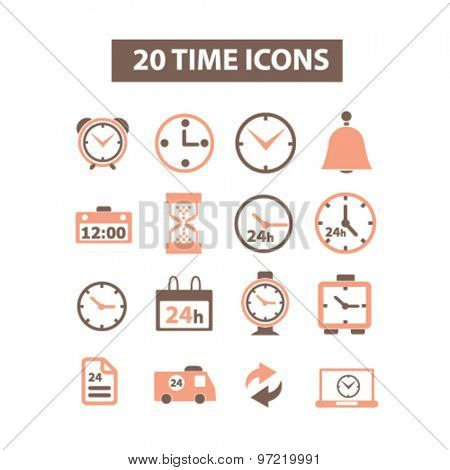 20 time, clock isolated flat icons, signs, illustrations set, vector for web, application