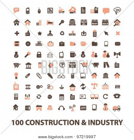 construction, industry, real estate isolated flat icons, signs, illustrations set, vector for web, application