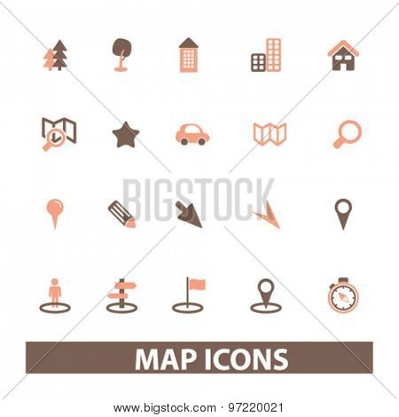 map, navigation, route isolated flat icons, signs, illustrations set, vector for web, application