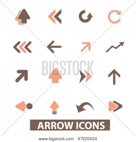 arrow, direction isolated flat icons, signs, illustrations set, vector for web, application