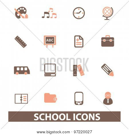 school, lesson, study, education isolated flat icons, signs, illustrations set, vector for web, application