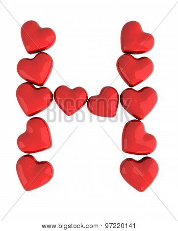 letter H made with hearts