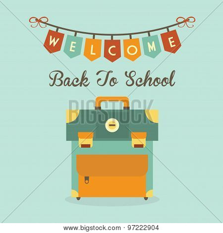 Welcome Back To School banner message with retro school bag icon