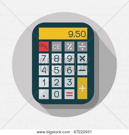 Calculator icon with long shadow on gray background