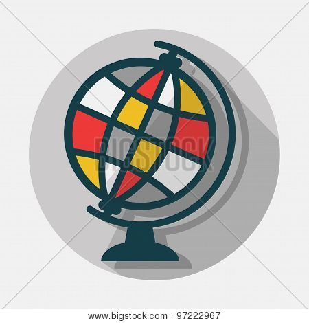 Science world globe icon with long shadow on gray background